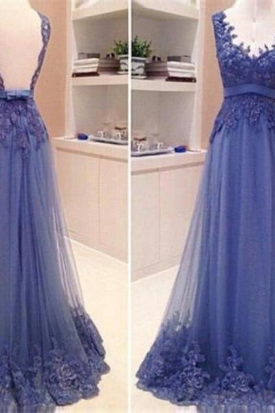 Tulle V-neck Evening Dress On Sale Sleeveless Floor-Length Backless Lace A-Line Evening Dress