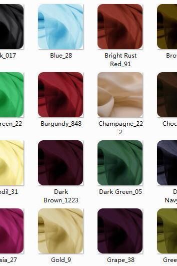 Color Chart - Please Select Color Name And Color Number In The Product Images And Leave in Your Shopping Cart