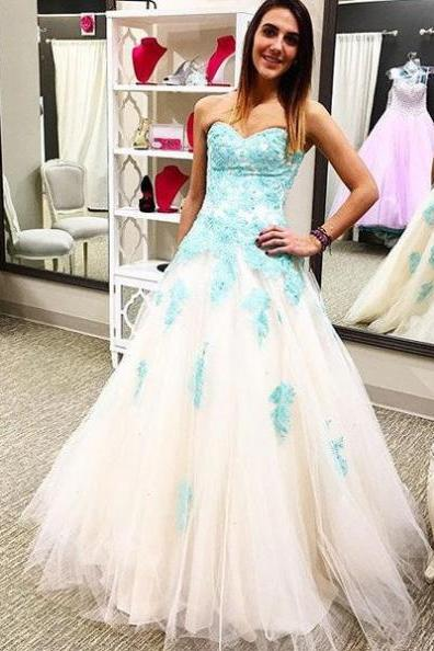 Appliques Lace Up Princess Tulle White Prom Dresses 2017 #SKU:100562