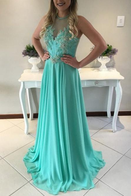 Sleeveless Natural Appliques A-line Chiffon Green Prom Dresses 2017 #SKU:102761