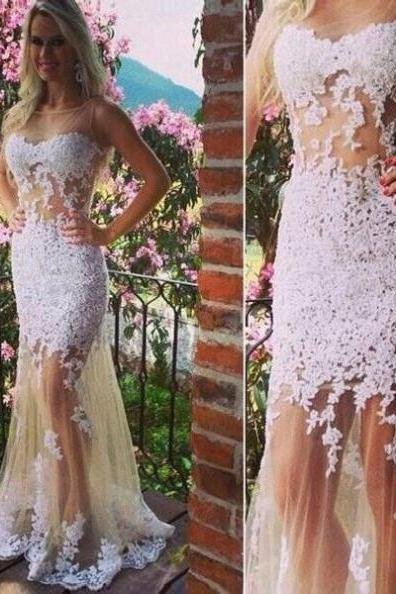 White Cheap Prom Dresses 2017 Long Trumpet/Mermaid Appliques Tulle #SKU:101269