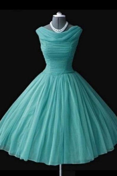 Ruching Knee-length A-line Tulle Green Prom Dresses 2017 #SKU:100934