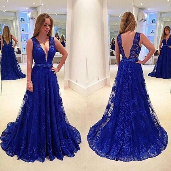 Lace V-neck Evening Dress On Sale Sleeveless Sweep/Brush Train Backless A-Line Evening Dress
